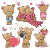 Uppsättning av den gulliga tecknade filmen Teddy Bear vektor illustrationer