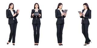 Uppsättning av den härliga attraktiva affärskvinnan som isoleras på vit Affär karriärframgångbegrepp arkivbilder
