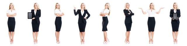 Uppsättning av den härliga attraktiva affärskvinnan som isoleras på vit Affär karriärframgångbegrepp royaltyfri bild