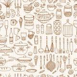Uppsättning av den hand drog cookwaren Arkivbilder
