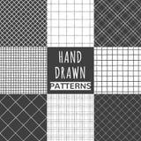 Uppsättning av den hand drog fyrkanten, kontroll, netto sömlösa modeller stock illustrationer