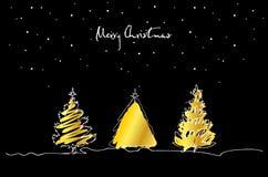 Uppsättning av den hand drog julgranen med guld på svart bakgrund glad greeting för kortjul stock illustrationer