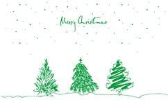 Uppsättning av den hand drog julgranen på vit bakgrund glad greeting för kortjul stock illustrationer