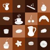 Uppsättning av den hand drog kaffe och kakan Royaltyfri Fotografi
