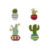 Uppsättning av den hand drog kaktuns Arkivfoton