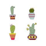 Uppsättning av den hand drog kaktuns Arkivfoto