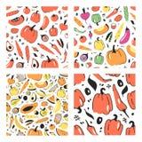 Uppsättning av den hand drog sömlösa modellen med frukter och grönsaker Konstnärlig illustrationmat för vektor Strikt vegetariant Royaltyfri Fotografi