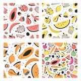 Uppsättning av den hand drog uppsättningen av tropiska frukter Konstnärlig sömlös modell för vektor med mat Sommarillustrationvat Arkivfoton