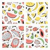 Uppsättning av den hand drog uppsättningen av tropiska frukter Konstnärlig sömlös modell för vektor med mat Sommarillustrationvat Arkivfoto