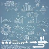 Uppsättning av den hand drog vektorn för affärsfinansbeståndsdelar Arkivbild