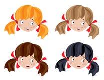 Uppsättning av den head roliga flickan Arkivbild
