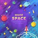 Uppsättning av den infographic illustrationen för enormt universum Yttre rymdraket som flyger upp in i solsystemet med många plan stock illustrationer