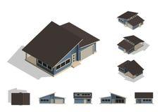 Uppsättning av den isolerade skapelsen för husbyggnadssats, detaljerad stads- och lantlig husbegreppsdesign i överkant, sida, fra Arkivbild