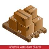 Uppsättning av den isometriska kartonger och paletten Lagerutrustning Royaltyfri Bild