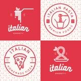Uppsättning av den italienska matlogoen, emblem, baner, emblem för snabbmat, pizza, spagetti, pastarestaurang Royaltyfri Foto
