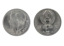 Uppsättning av den jubileums- rublet USSR för mynt 1 Arkivbilder