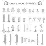 Uppsättning av den kemiska glasföremålsatsen Royaltyfri Fotografi