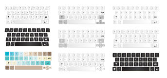 Uppsättning av den kompakta faktiska tangentbordillustrationen Arkivfoto