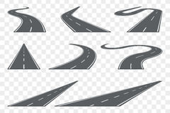 Uppsättning av den krökta asfaltvägen i perspektiv Huvudvägsymboler arkivfoto