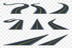 Uppsättning av den krökta asfaltvägen i perspektiv Huvudvägsymboler stock illustrationer
