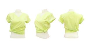 Uppsättning av den kvinnliga tshirtmallen Royaltyfri Fotografi