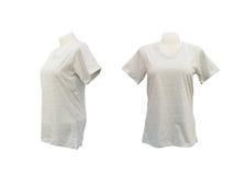 Uppsättning av den kvinnliga tshirtmallen på skyltdockan på vit Arkivfoton
