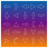 Uppsättning av den linjära pilen, vektorillustration Fotografering för Bildbyråer