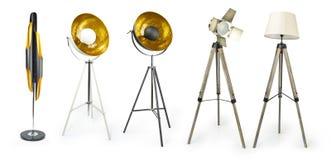Uppsättning av den ljusa projektorn för tripod som isoleras på vit med den inklusive snabba banan, Royaltyfri Bild
