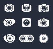 Uppsättning av den ljusa symbolskameran och mobillinsen Arkivfoton