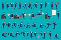 Uppsättning av den lyckliga kontorsmannen också vektor för coreldrawillustration Uppsättningen av affärsmantecken poserar, format Royaltyfria Foton