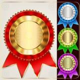 Uppsättning av den mångfärgade utmärkelsen Royaltyfri Bild
