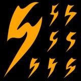 Uppsättning av den magiska blixtsymbolen Arkivbild