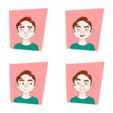 Uppsättning av den manliga ansiktsuttrycksamlingen av Guy Different Emotions stock illustrationer