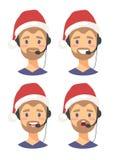 Uppsättning av den manliga operatören för telefon för emojikundservice i julhatt Callcenter arbetare med hörlurar med mikrofon Te vektor illustrationer