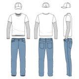 Uppsättning av den manliga utslagsplatsen, jeans, baseballmössa Arkivbilder