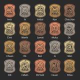 Uppsättning av den Mayan kalendern som göras av stenen vektor illustrationer