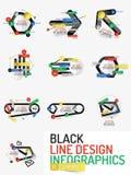 Uppsättning av den minsta linjen infographics för rengöringsduk för designkontor Royaltyfri Bild
