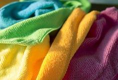 Uppsättning av den mjuka torkduken för färg Fotografering för Bildbyråer