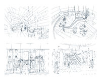 Uppsättning av den moderna inre köpcentret Olik utrymmegalleria för samling Konturen skissar illustrationen stock illustrationer