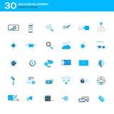 Uppsättning av den moderna plana designen SEO och utvecklingssymboler stock illustrationer