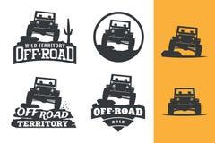 Uppsättning av den monokromma logoen för av-väg suvbil, emblem och emblemisolator vektor illustrationer