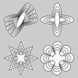Uppsättning av den monokromma logotypen med rumslig effekt, 3d enkla geometriska former, uppsättning av fyra unika beståndsdelar Royaltyfri Bild