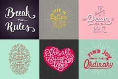 Uppsättning av den motivational och inspirerande för typografihälsning för vektor handen drog unika kort, garnering, mall, tryck, royaltyfri illustrationer