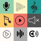 Uppsättning av den musiksymbolsgem-konst designen stock illustrationer