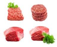 Uppsättning av den nya nötkötttjock skiva med dill, jordningsnötkött Royaltyfri Fotografi