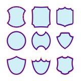Uppsättning av den olika blått-och-röda sköldsymbolen Arkivbild