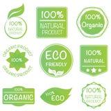 Uppsättning av 100% den organiska produktklistermärken Arkivbilder