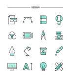 Uppsättning av den plana designen, tunn hjälpmedelsymboler för linje formgivare stock illustrationer