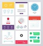 Uppsättning av den plana designen UI och UX beståndsdelar Arkivbilder