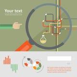 Uppsättning av den plana designsymbolen för experiment vektor illustrationer